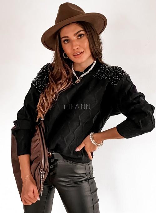 Sweter z perełkami na ramionach czarny 2