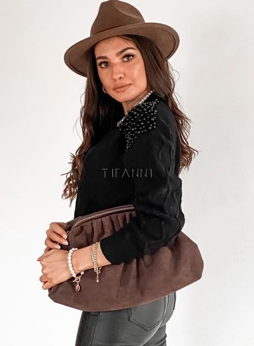 Sweter z perełkami na ramionach czarny 4