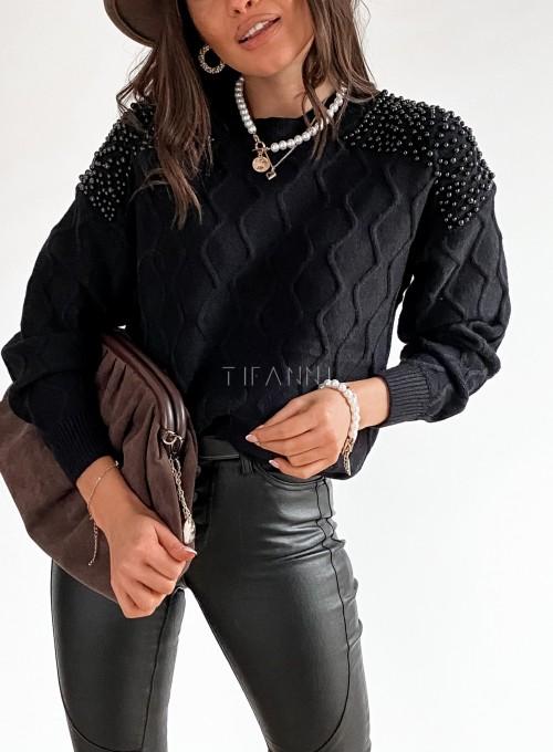 Sweter z perełkami na ramionach czarny 1