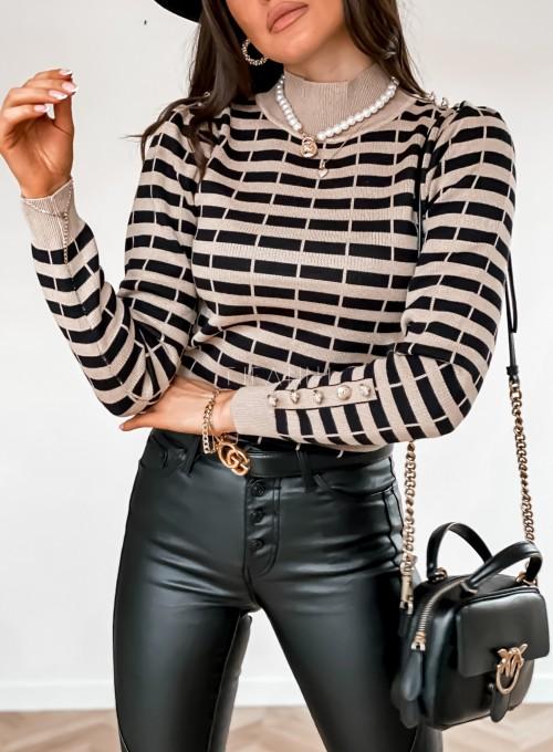 Sweter Silla w beżowo-czarne paski 1