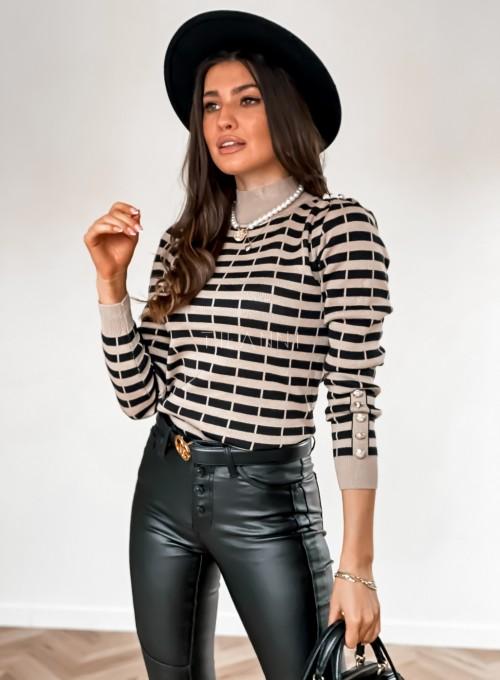 Sweter Silla w beżowo-czarne paski 3