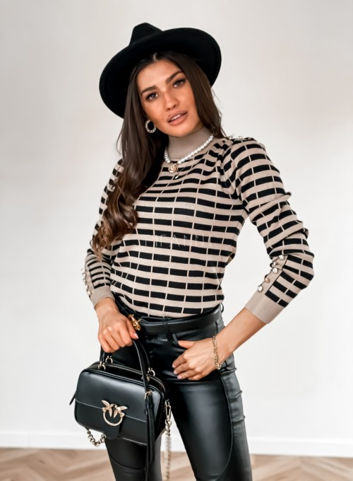 Sweter Silla w beżowo-czarne paski 4