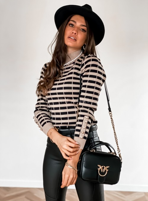 Sweter Silla w beżowo-czarne paski 5