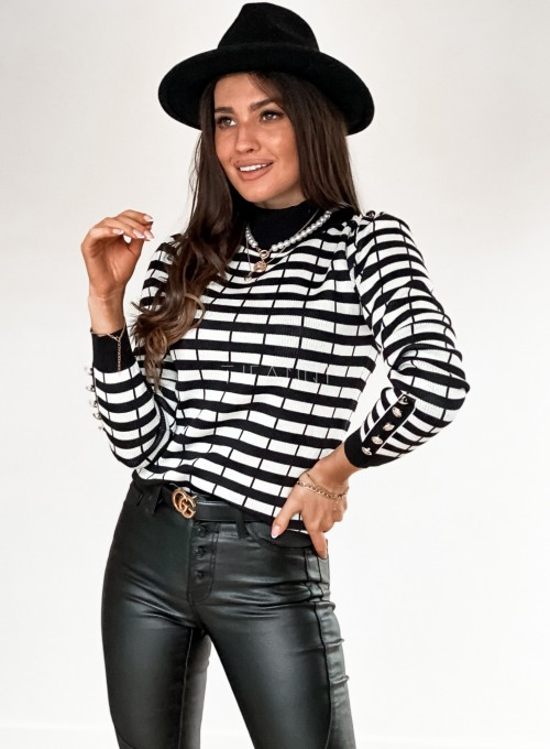 Sweter Silla w biało-czarne paski