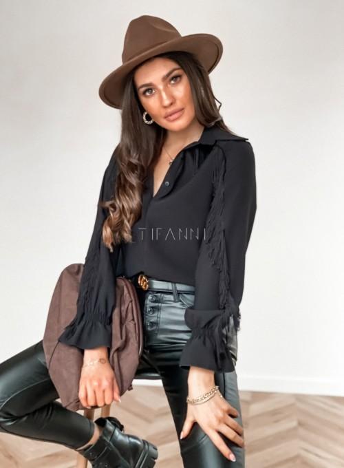Koszula Avanti z frendzlami czarna 2