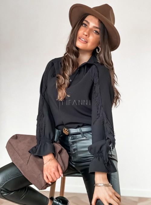 Koszula Avanti z frendzlami czarna 4
