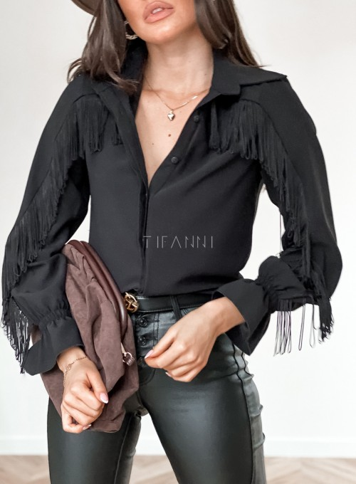 Koszula Avanti z frendzlami czarna 1