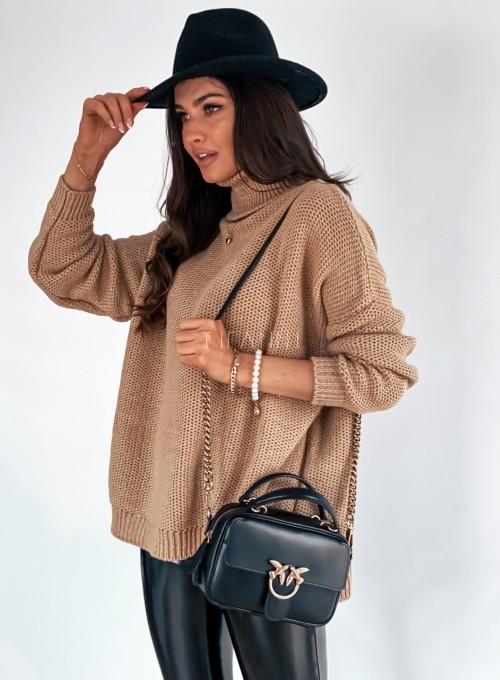 Sweter golf ze srebrną nitką camel 4