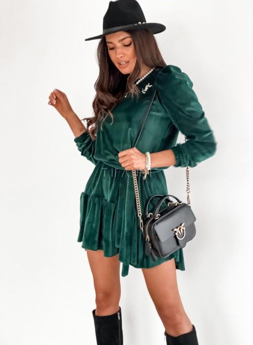 Welurowa sukienka Princes butelkowa zieleń 3