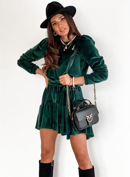 Welurowa sukienka Princes butelkowa zieleń 5