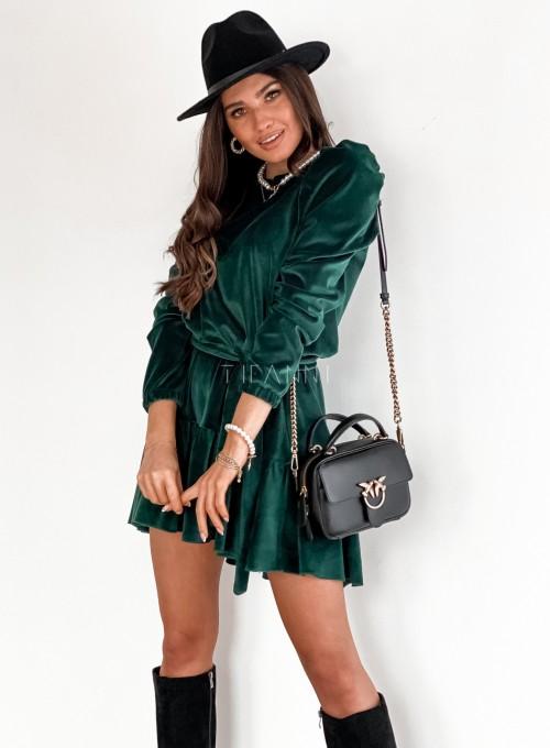 Welurowa sukienka Princes butelkowa zieleń 6
