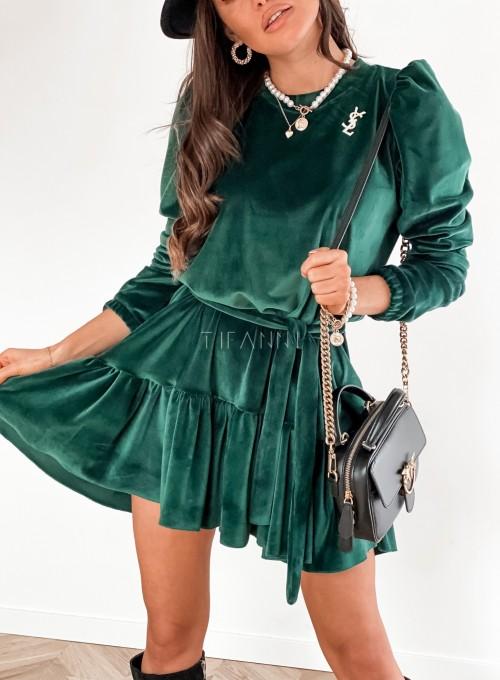 Welurowa sukienka Princes butelkowa zieleń 1
