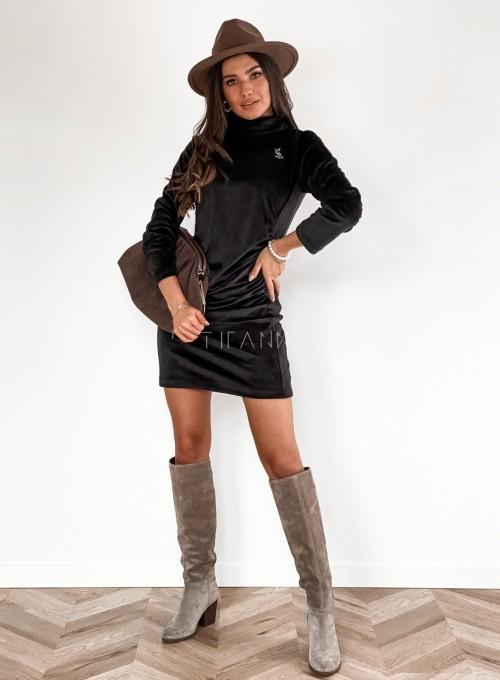 Sukienka welurowa Riri czarna 2