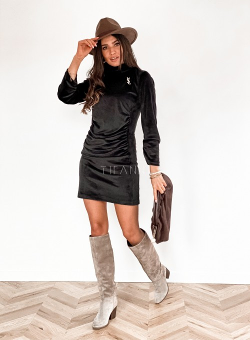Sukienka welurowa Riri czarna 4