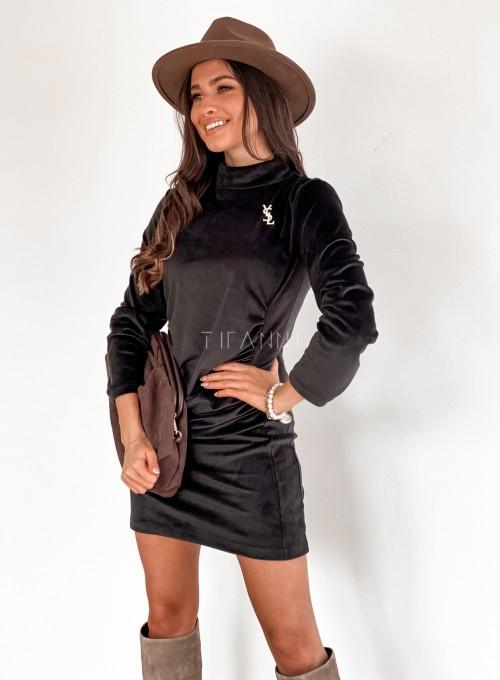 Sukienka welurowa Riri czarna 5