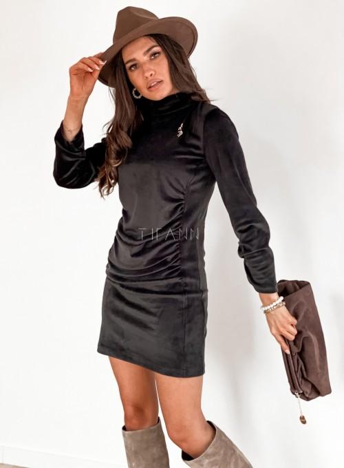 Sukienka welurowa Riri czarna 6