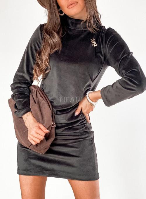 Sukienka welurowa Riri czarna 1