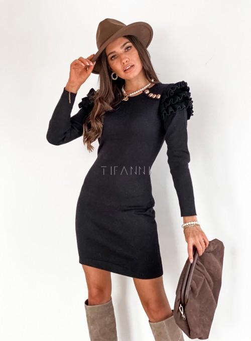 Sukienka z falbankami na ramionach Roza czarna