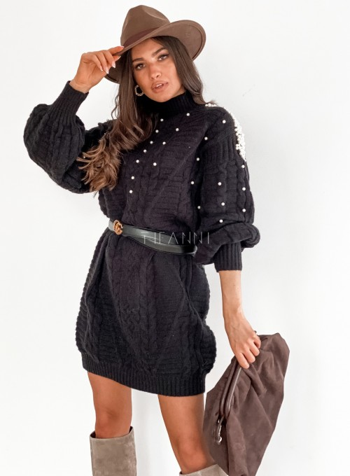 Sukienka swetrowa zdobiona perełkami czarna