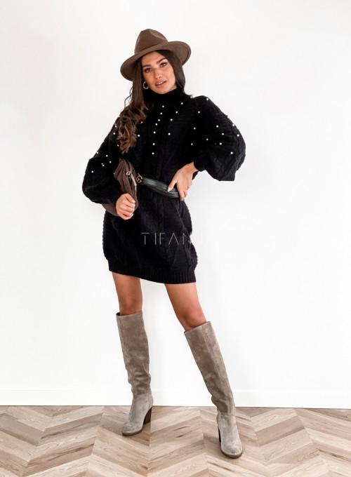Sukienka swetrowa zdobiona perełkami czarna 4
