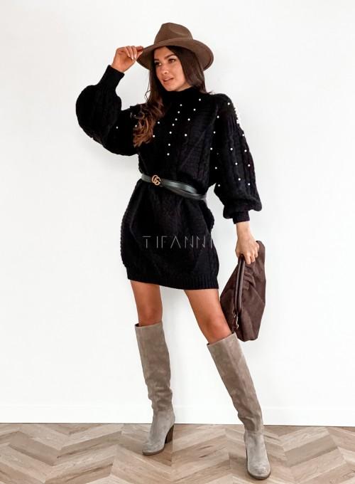 Sukienka swetrowa zdobiona perełkami czarna 2