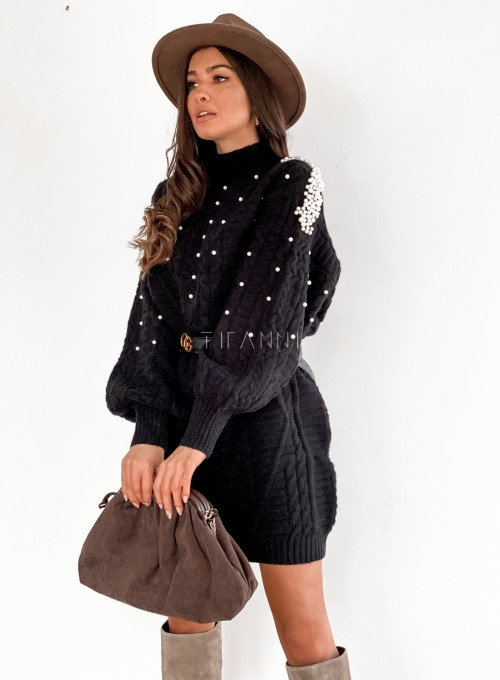 Sukienka swetrowa zdobiona perełkami czarna 5