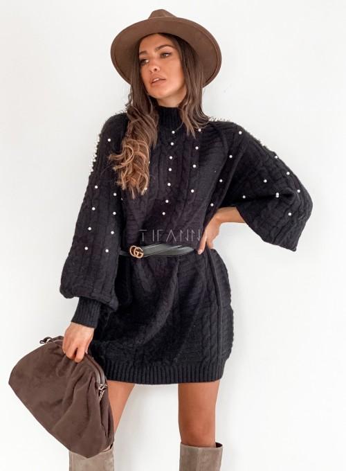 Sukienka swetrowa zdobiona perełkami czarna 3