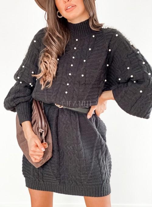 Sukienka swetrowa zdobiona perełkami czarna 1