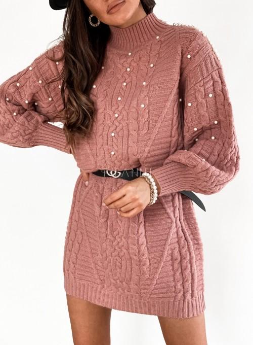 Sukienka swetrowa zdobiona perełkami brudny róż 1