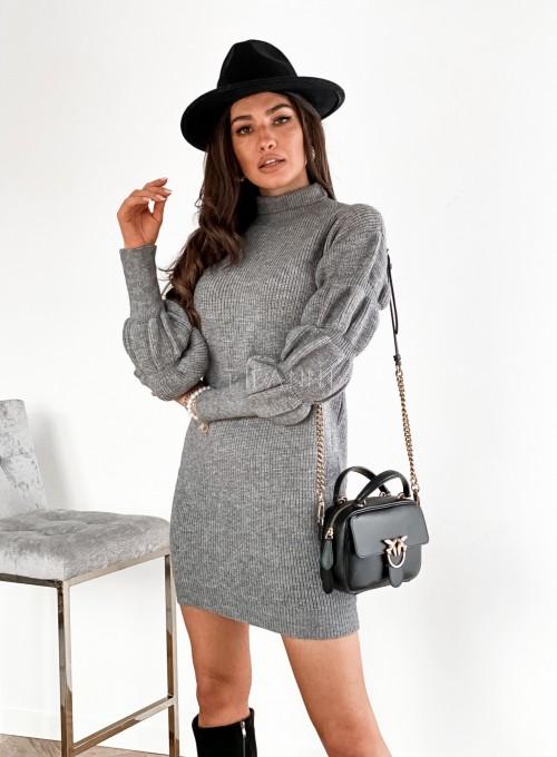 Sukienka swetrowa z golfem Alexa szara