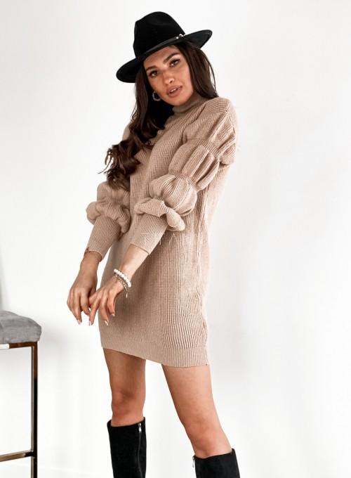 Sukienka swetrowa z golfem Alexa beżowa