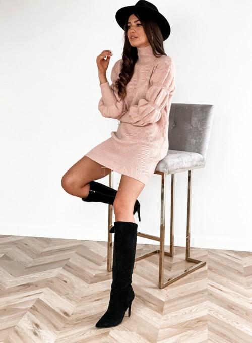 Sukienka swetrowa z golfem Alexa pudrowa 4