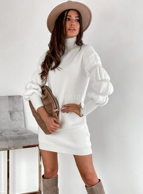 Sukienka swetrowa z golfem Alexa śmietankowa