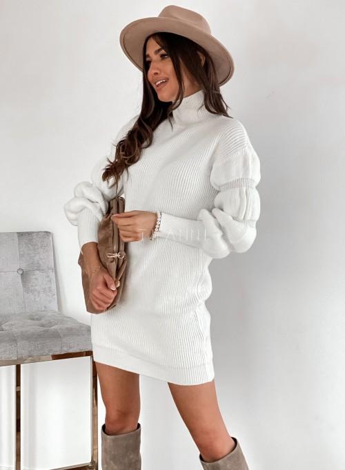 Sukienka swetrowa z golfem Alexa śmietankowa 5