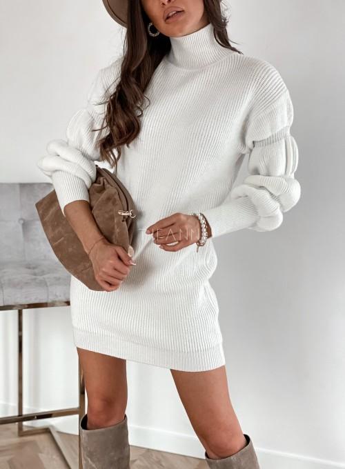 Sukienka swetrowa z golfem Alexa śmietankowa 1