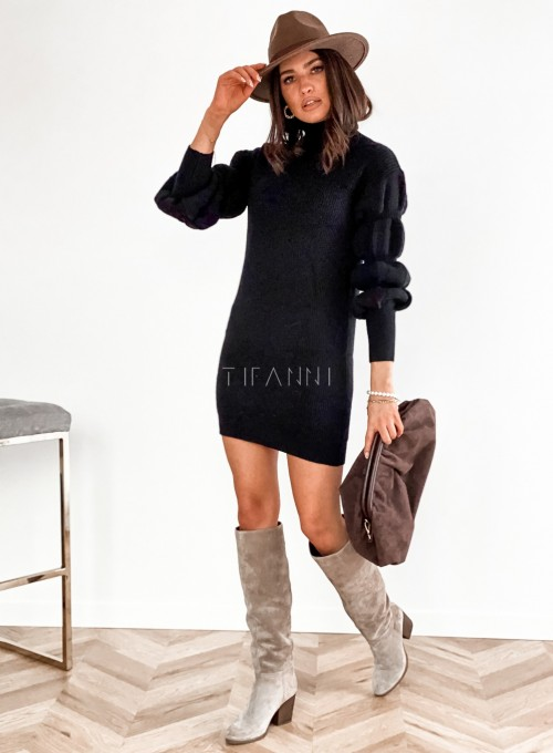 Sukienka swetrowa z golfem Alexa czarna 2