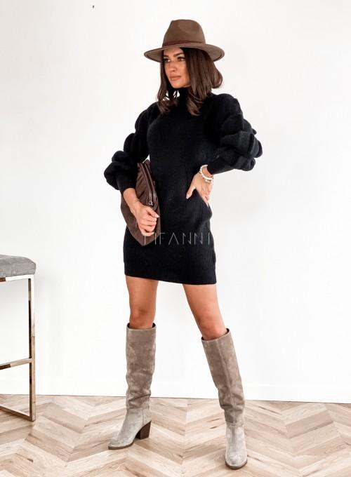 Sukienka swetrowa z golfem Alexa czarna 5
