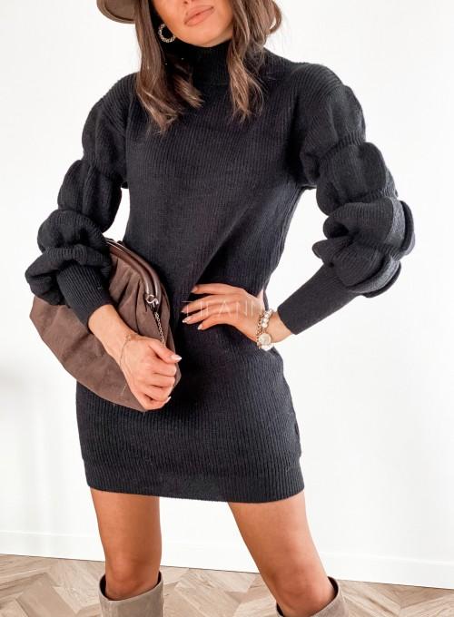 Sukienka swetrowa z golfem Alexa czarna 1