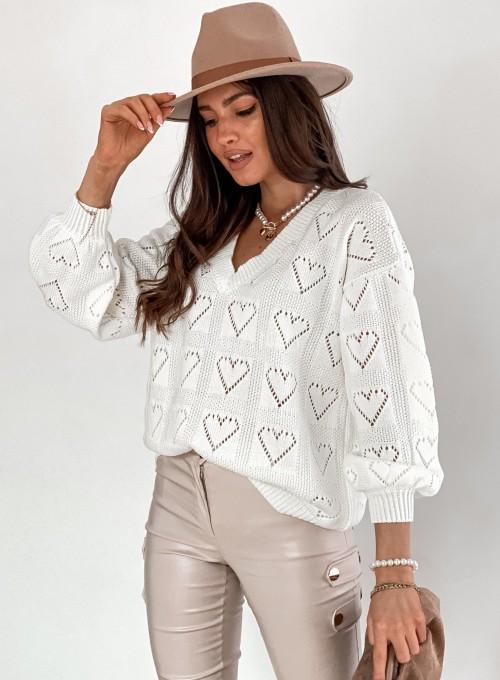 Ażurowy sweter Heart śmietankowy