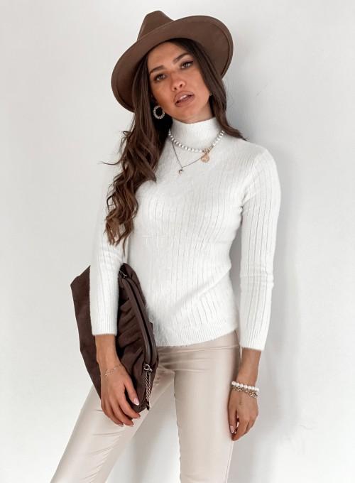 Sweter golf prążkowany śmietankowy 4
