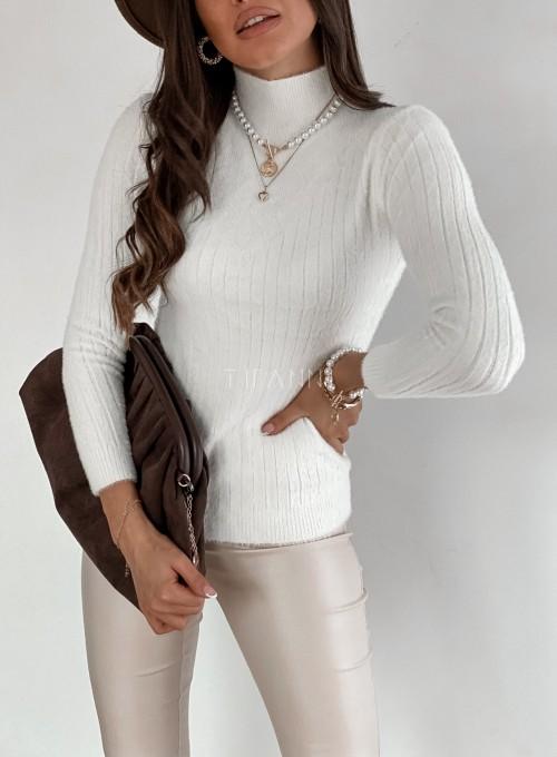 Sweter golf prążkowany śmietankowy 1