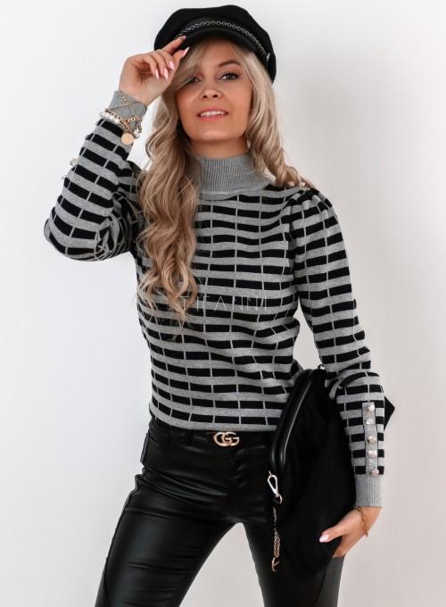 Sweter Silla w szaro-czarne paski 2