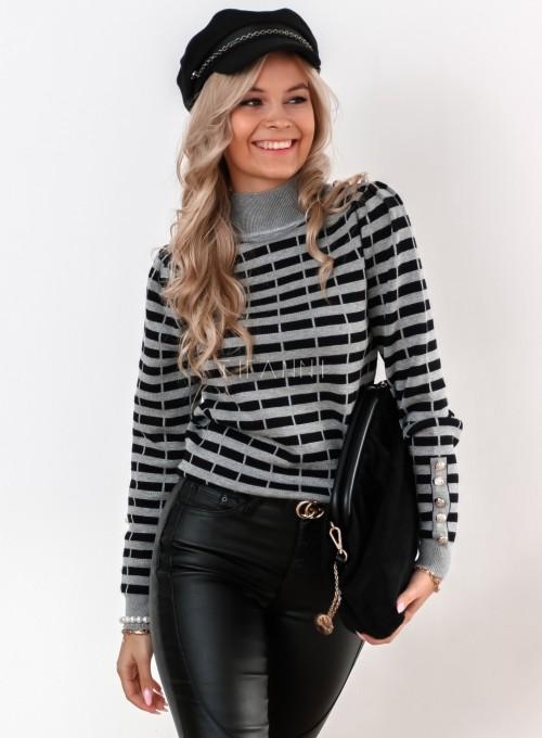 Sweter Silla w szaro-czarne paski 3