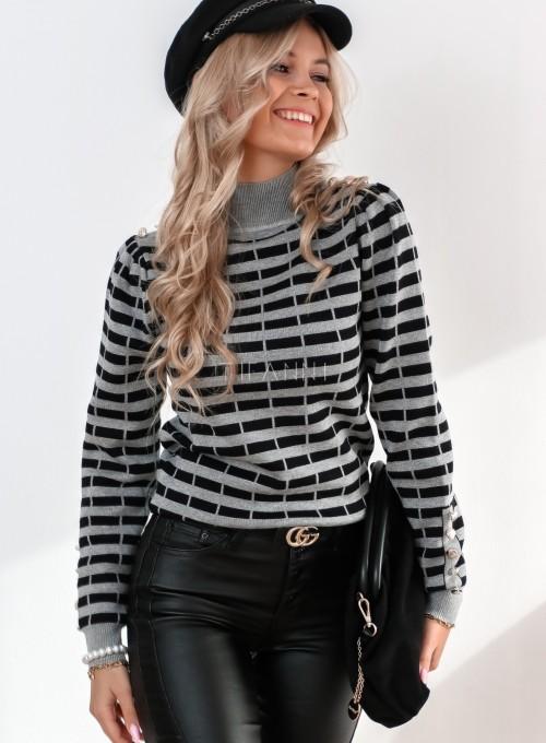 Sweter Silla w szaro-czarne paski 4