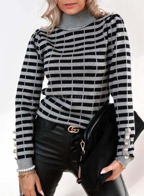 Sweter Silla w szaro-czarne paski 1