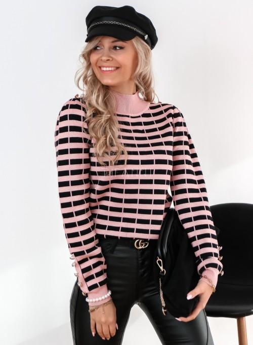 Sweter Silla w pudrowo-czarne paski