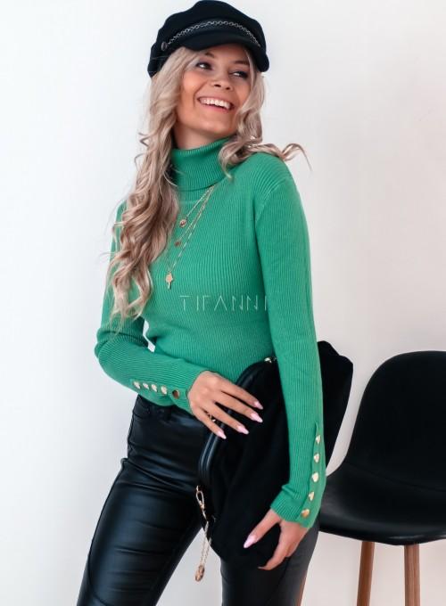 Sweterek golf z napami na rękawach zielony