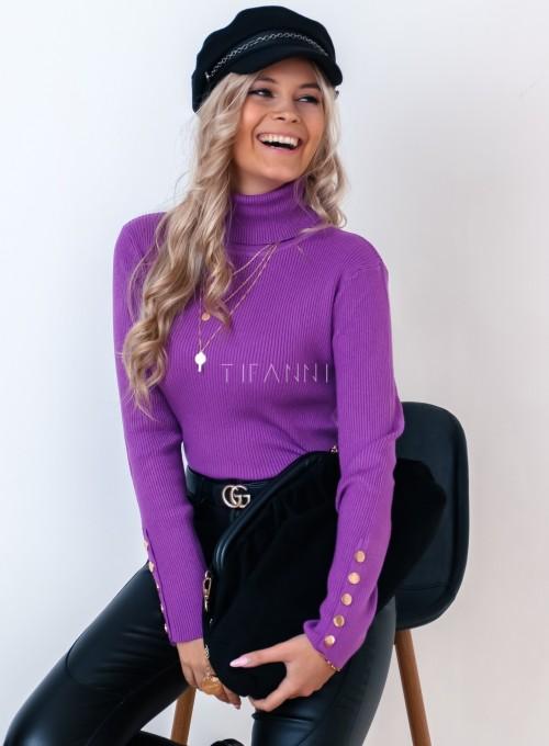 Sweterek golf z napami na rękawach fioletowy