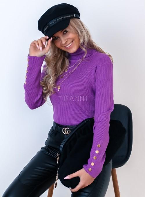 Sweterek golf z napami na rękawach fioletowy 2