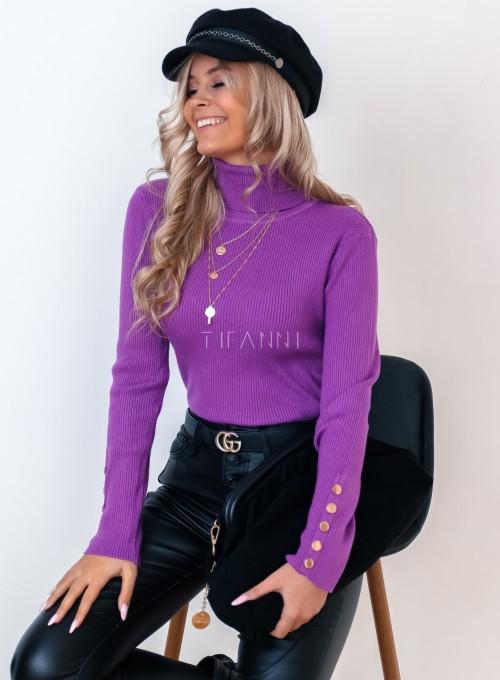 Sweterek golf z napami na rękawach fioletowy 3
